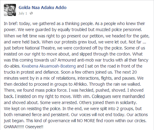 Golda Addo on security at #OccupyFlagstaffHouse