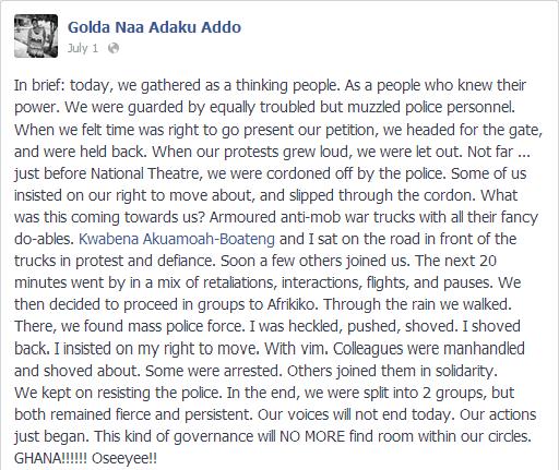 Golda Addo on security at #OccupyFlagstaffHouse
